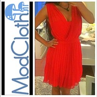 Modcloth Minuet Red Pleated Dress
