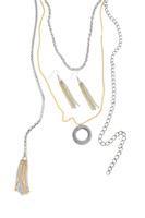 Silver & Gold Long Multi-Strand Tassel Necklace & Earring Set