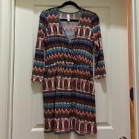 Pink Owl Faux Wrap Dress (Size L)