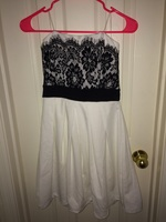 Mystic white with black lace dress