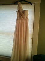 love point off shoulder beige dress