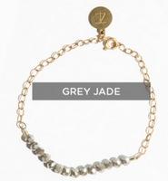 Tribe Alive Glass Crystal Bead Bracelet in Grey Jade