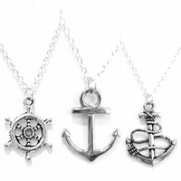 Set of 3 Necklaces Anchor and Ship Wheel
