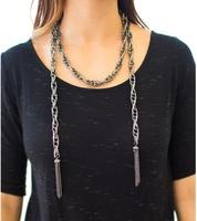 Gunmetal Tassel Convertible Necklace