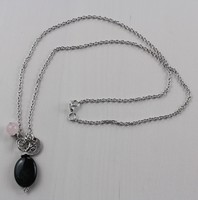 Green Tree Agate and Rose Quartz Om Necklace