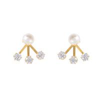 Wanderlust & Co. Triple Crystal Gold Ear Cuff
