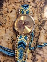 Geneva Platinum Elephant Print Woven Friendship Bracelet Watch