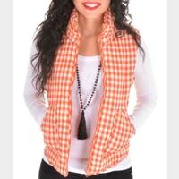 Peach Love Orange Gingham Puffer Vest