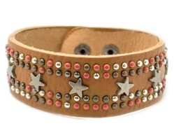 Brown Leather Star Studded Bracelet