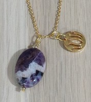 Gold Amethyst and Lotus Flower Necklace