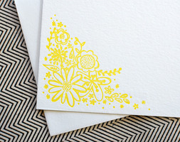 Floral Doodle Yellow Letterpress Note Card