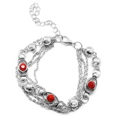 Silver Multi-Strand & Red Rhinestone Bracelet