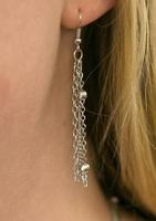 Triple Strand Silver Beaded Earrings