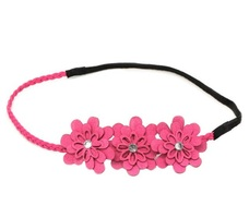 Pink Suede & Rhinestone Flower Headband