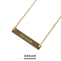 Jook & Nona Gold Plated Tag Necklace - Dream