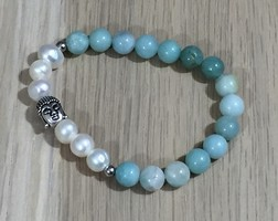 Yogi Surprise Pearl and Amazonite Buddha Bracelet