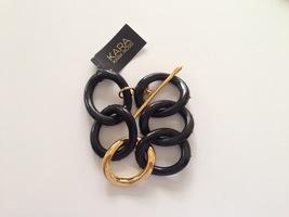 Kara Ross Black/Gold Chain Link Toggle Bracelet