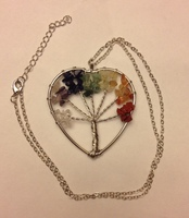Rainbow Heart Tree necklace