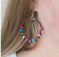 Suede Wrapped Hoops w/Multi-Color Beads & Pearls