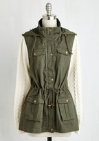 Olive Green Cargo Jacket w/ Sweater Sleeves