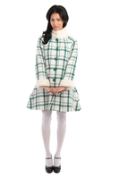 Bright and Beautiful Mariella Green checked coat
