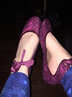 Lacy flats with ankle tie