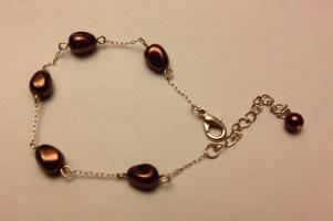 Chocolate keshi faux pearl bracelet goldtone
