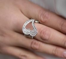 Silver Rhinestone Open Heart Ring