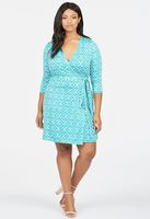 JustFab Crossover Wrap Dress in Blue Green Multi