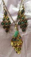 Peacock Necklace & Earrings
