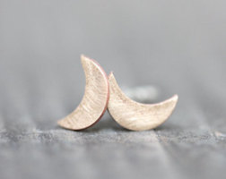 Sterling silver recycled moon earrings