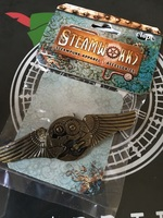 Steampunk gear wings pin