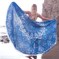 Mali blue Round Blanket