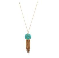 Mercedes 'Amity' Turquoise Tassel Necklace in Gold