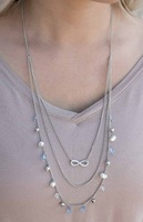Silver & Blue Beaded Infinity Necklace