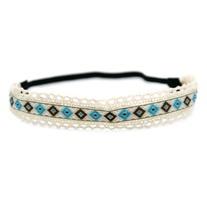 Ivory, Brown & Blue Headband